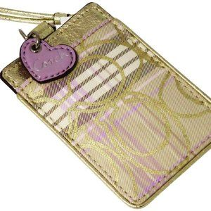 Coach Lanyard ID Card Pass Holder Purple and Gold